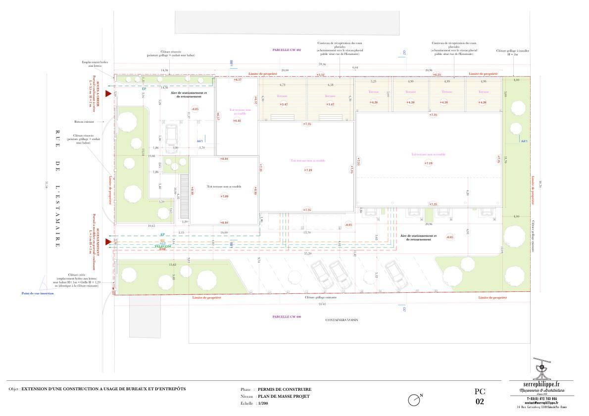 Conception d une extension d un immeuble de bureaux et d entrepôts